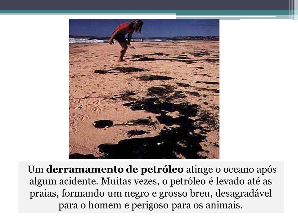 Um derramamento de petróleo atinge o oceano após algum acidente