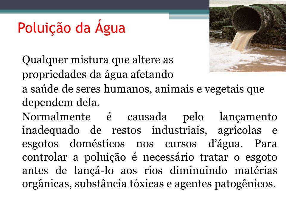 Poluição da Água propriedades da água afetando