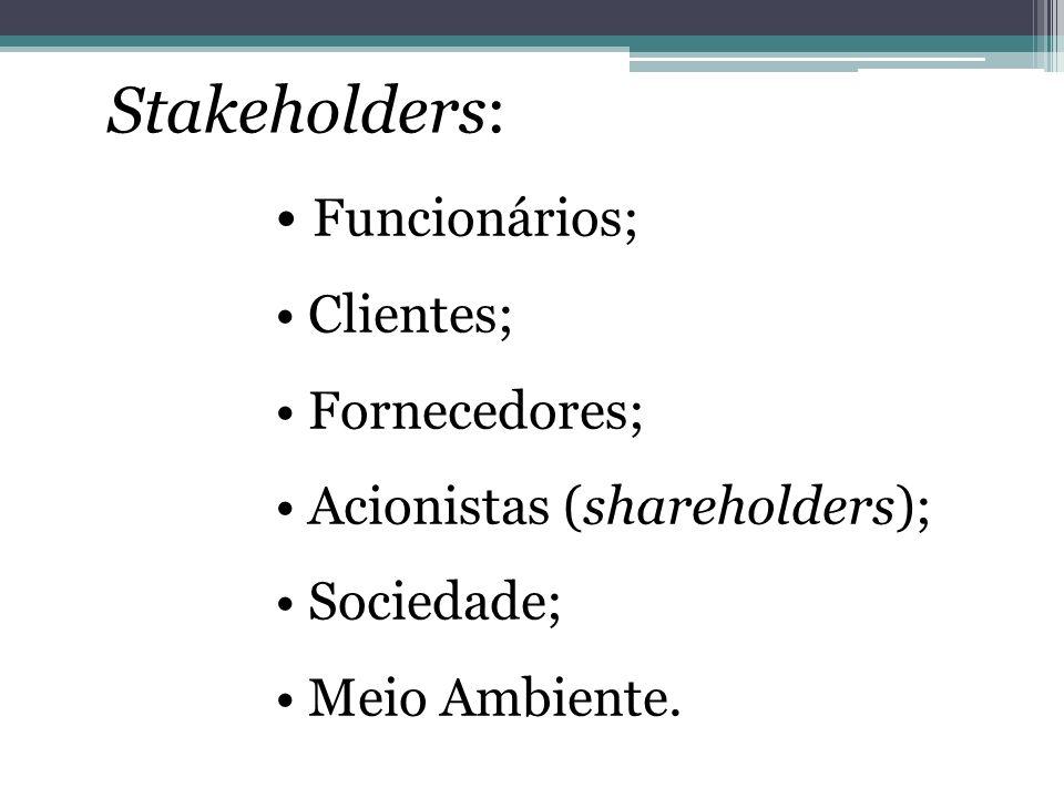 Stakeholders: • Funcionários; • Clientes; • Fornecedores;