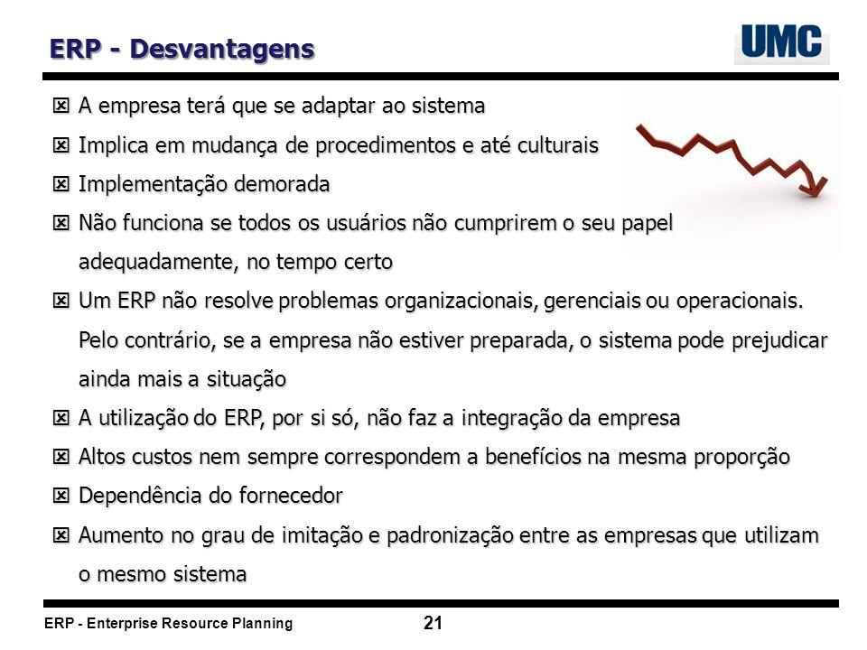 ERP - Desvantagens A empresa terá que se adaptar ao sistema
