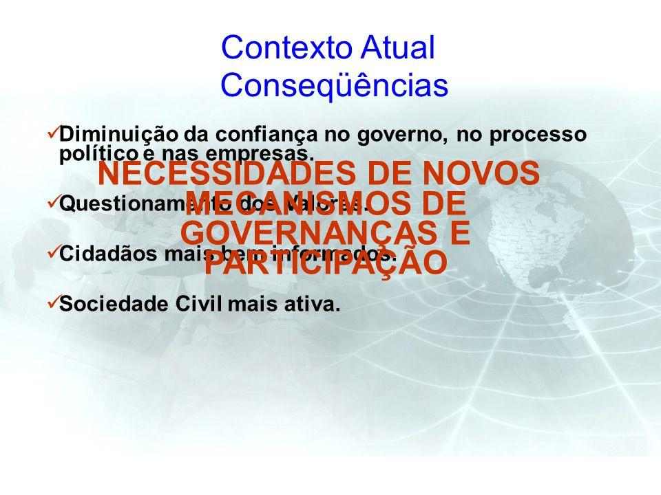 NECESSIDADES DE NOVOS MECANISMOS DE GOVERNANÇAS E PARTICIPAÇÃO
