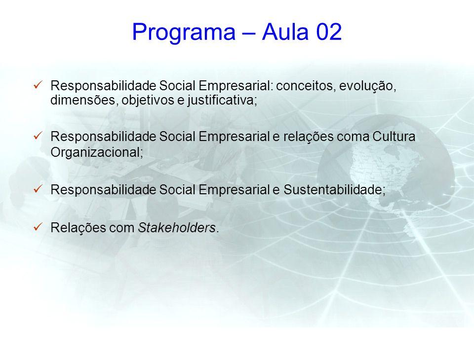 Programa – Aula 02 Responsabilidade Social Empresarial: conceitos, evolução, dimensões, objetivos e justificativa;