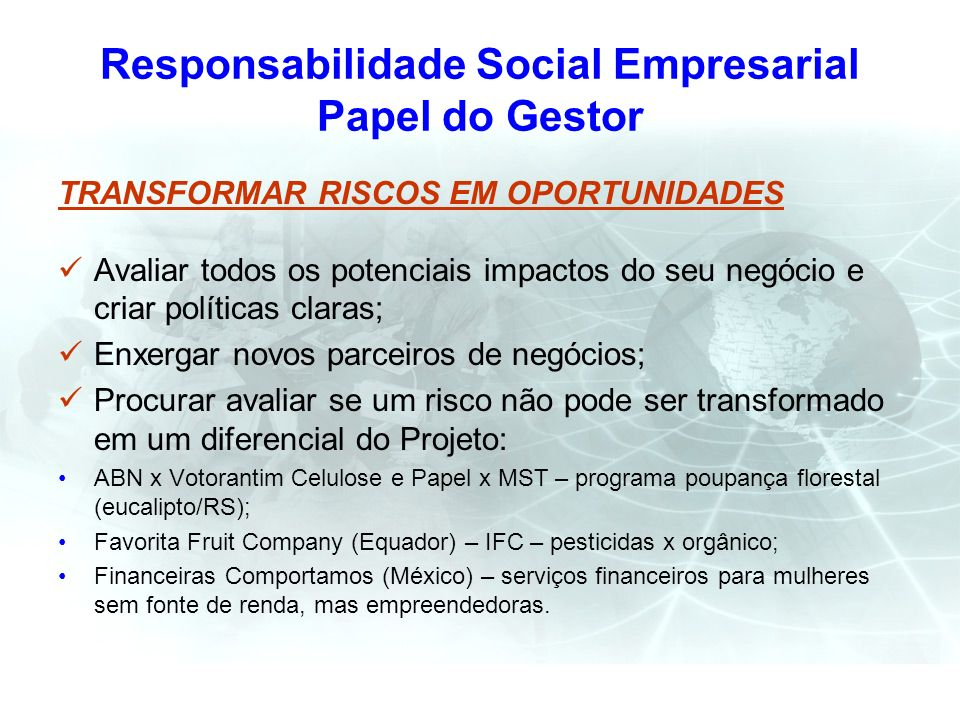 Responsabilidade Social Empresarial Papel do Gestor