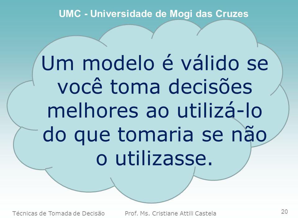 Um modelo é válido se você toma decisões melhores ao utilizá-lo do que tomaria se não o utilizasse.