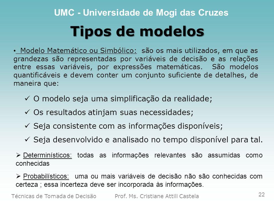 Tipos de modelos O modelo seja uma simplificação da realidade;