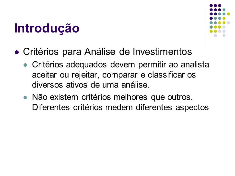 Introdução Critérios para Análise de Investimentos
