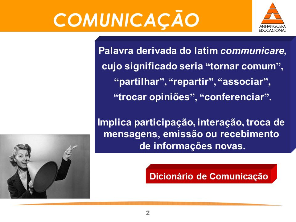 COMUNICAÇÃO Palavra derivada do latim communicare,