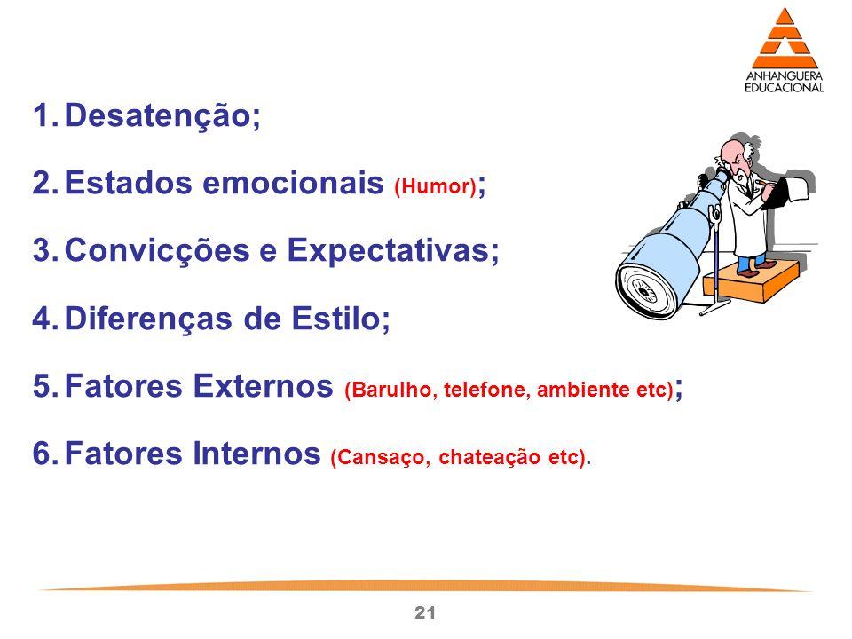 Desatenção; Estados emocionais (Humor); Convicções e Expectativas; Diferenças de Estilo; Fatores Externos (Barulho, telefone, ambiente etc);