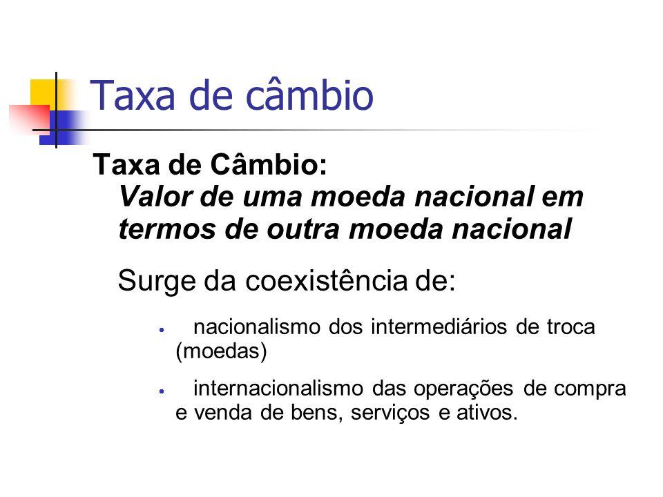Taxa de câmbio Taxa de Câmbio: Valor de uma moeda nacional em termos de outra moeda nacional.