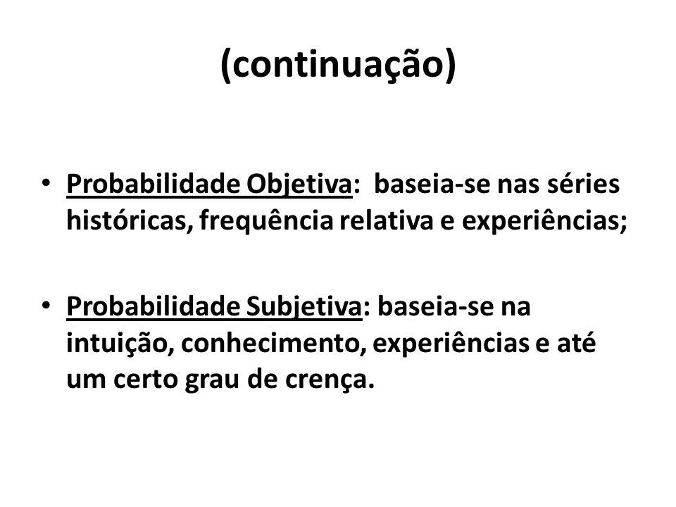 (continuação)Probabilidade Objetiva: baseia-se nas séries históricas, frequência relativa e experiências;