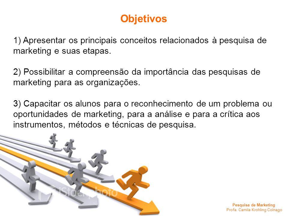 Objetivos 1) Apresentar os principais conceitos relacionados à pesquisa de marketing e suas etapas.
