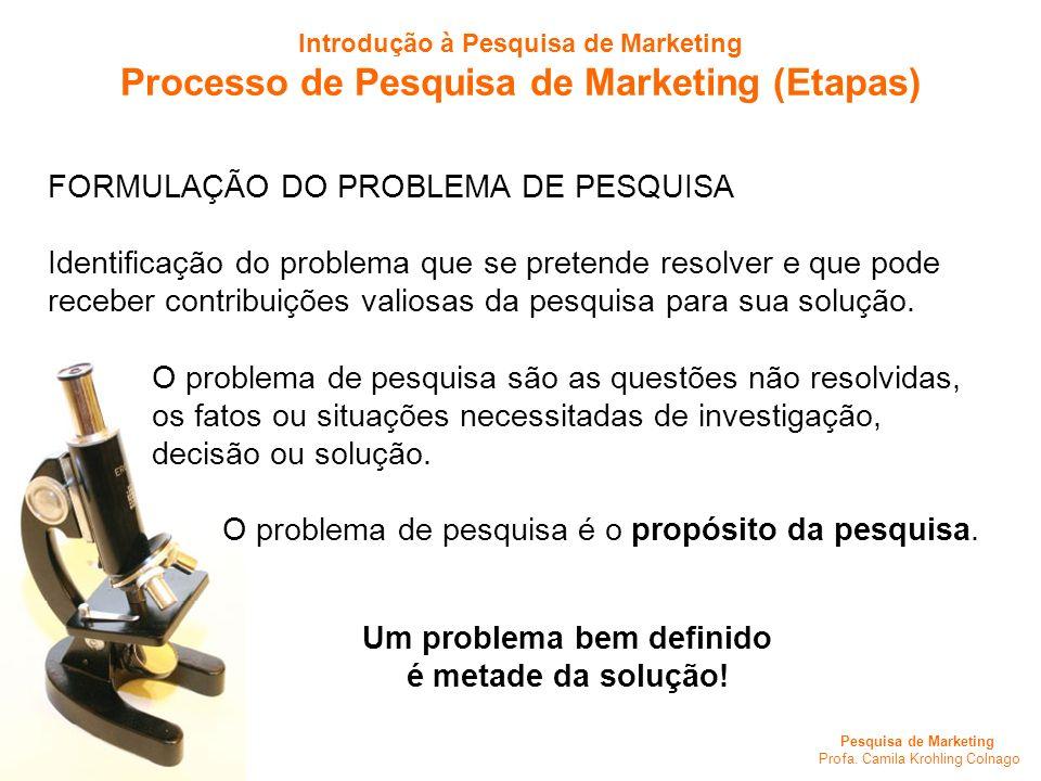 Processo de Pesquisa de Marketing (Etapas) Um problema bem definido