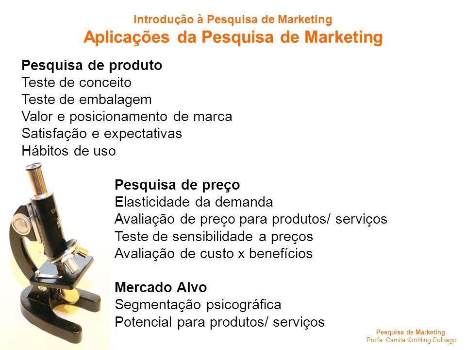 Aplicações da Pesquisa de Marketing