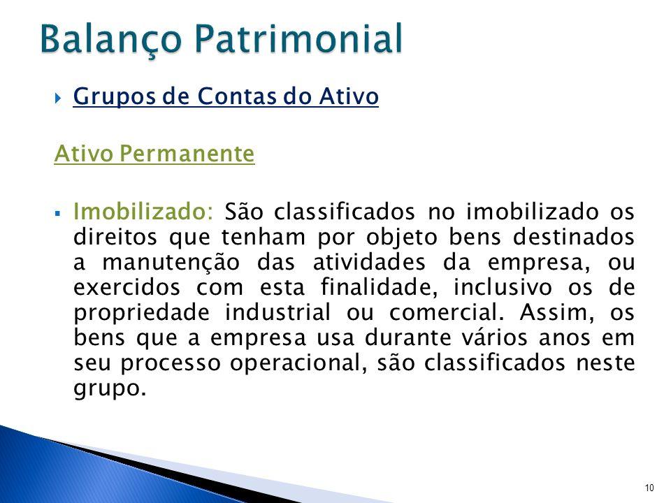 Balanço Patrimonial Grupos de Contas do Ativo Ativo Permanente