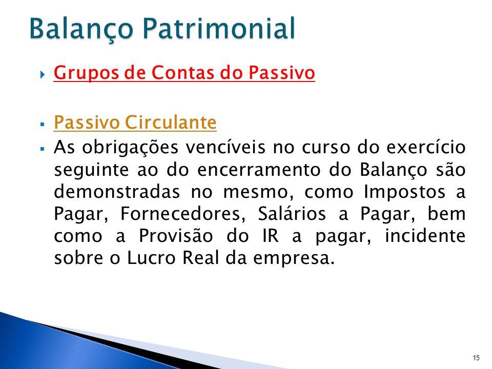 Balanço Patrimonial Grupos de Contas do Passivo Passivo Circulante