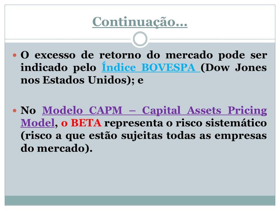 Continuação... O excesso de retorno do mercado pode ser indicado pelo Índice BOVESPA (Dow Jones nos Estados Unidos); e.
