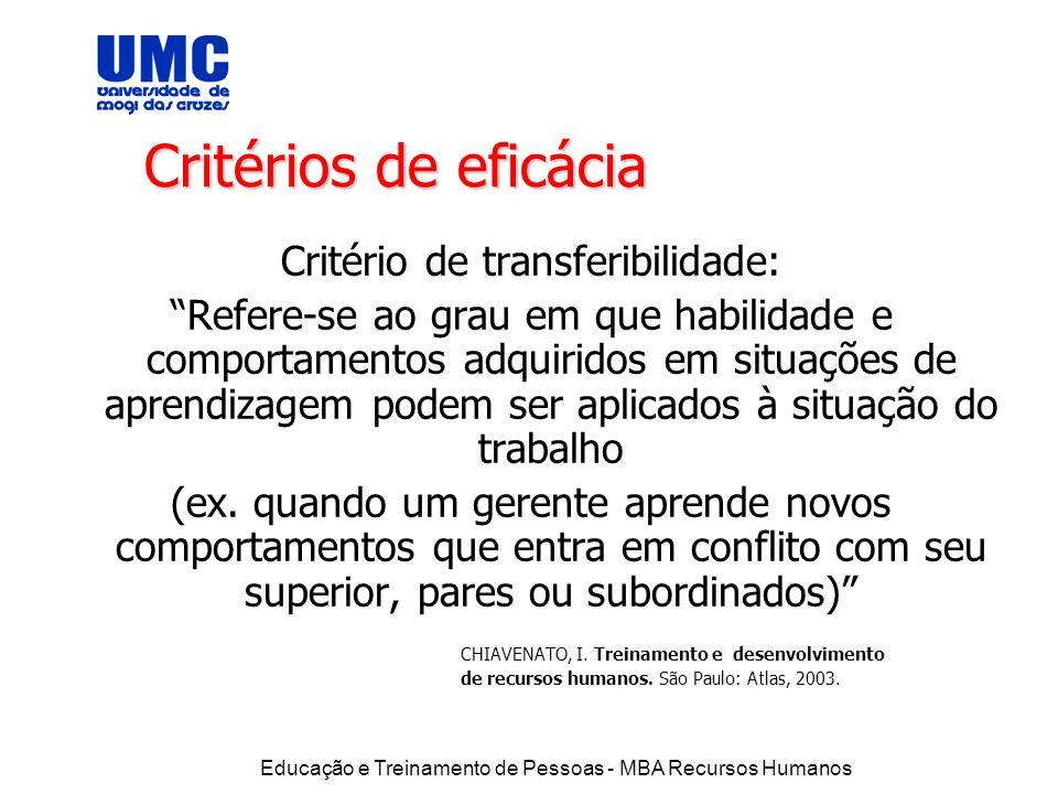 Critério de transferibilidade: