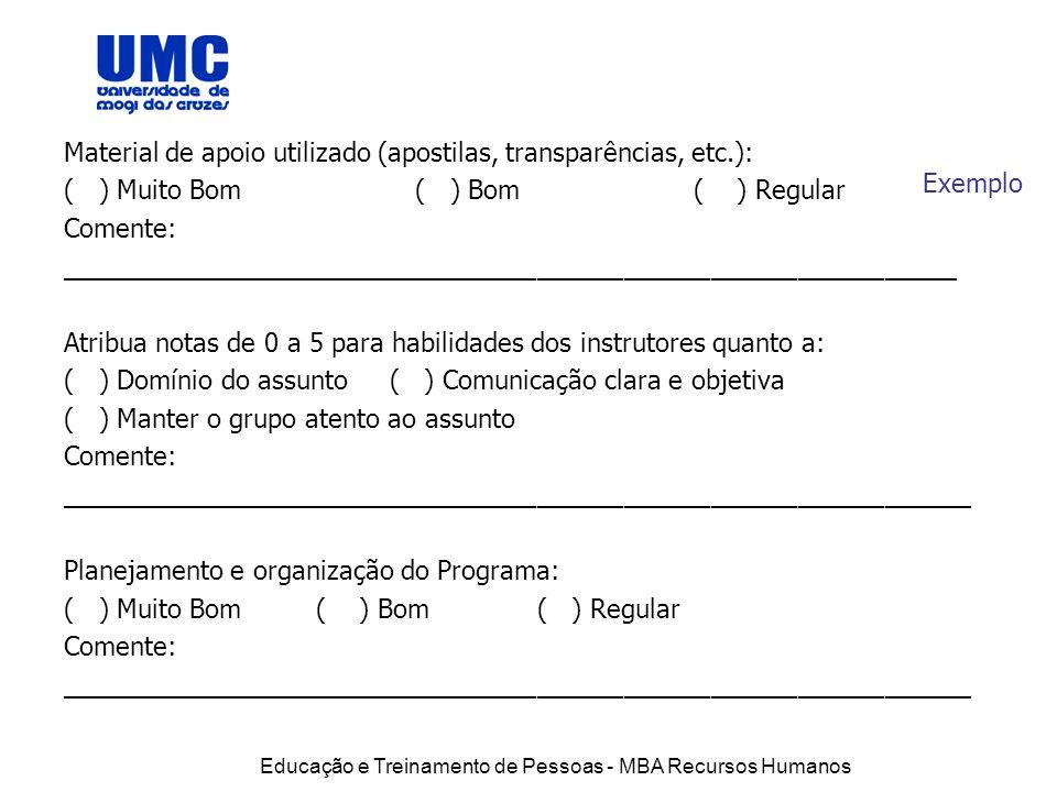 Material de apoio utilizado (apostilas, transparências, etc.):