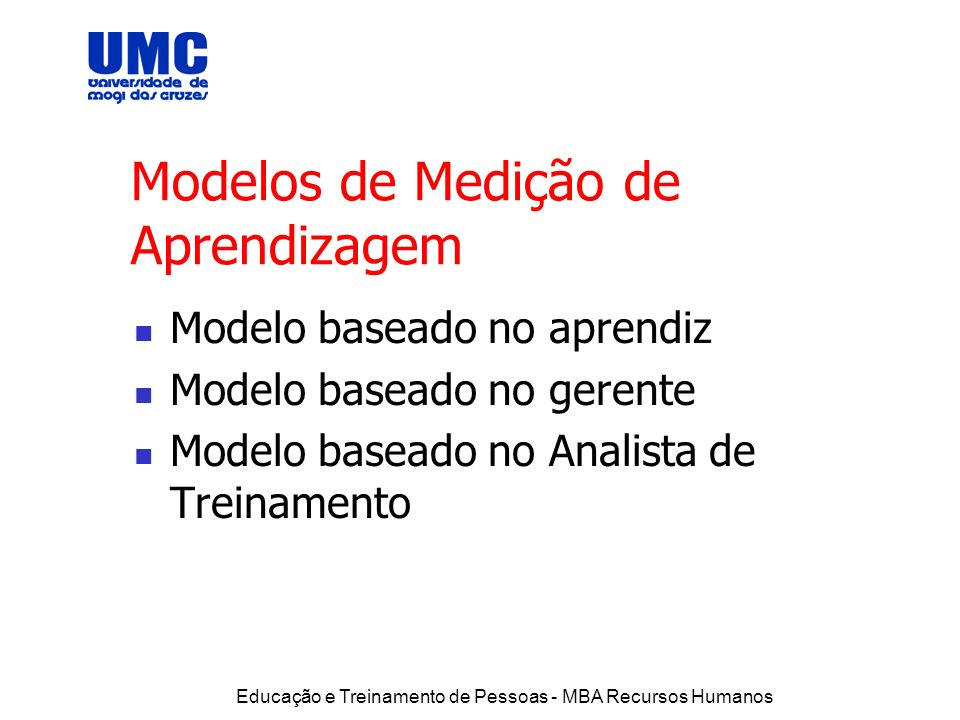 Modelos de Medição de Aprendizagem