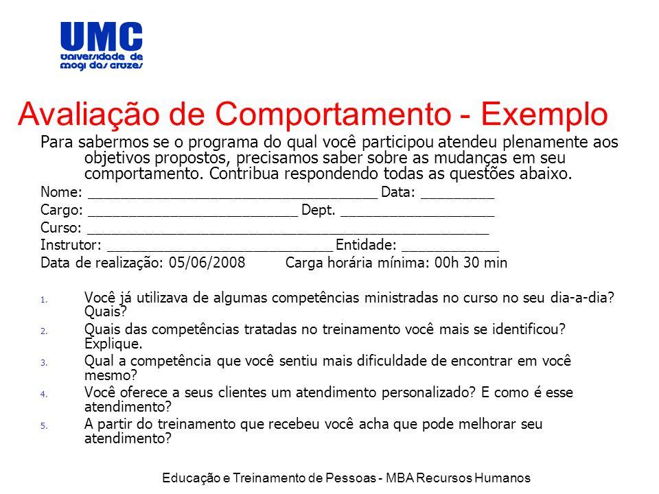Avaliação de Comportamento - Exemplo