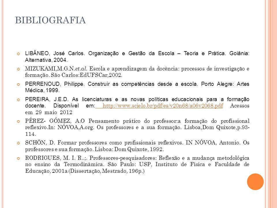bibliografia LIBÂNEO, José Carlos. Organização e Gestão da Escola – Teoria e Prática. Goiânia: Alternativa, 2004.