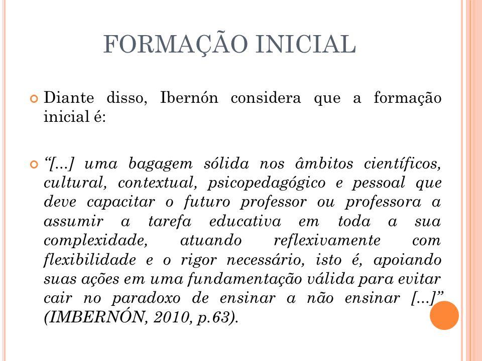 FORMAÇÃO INICIAL Diante disso, Ibernón considera que a formação inicial é: