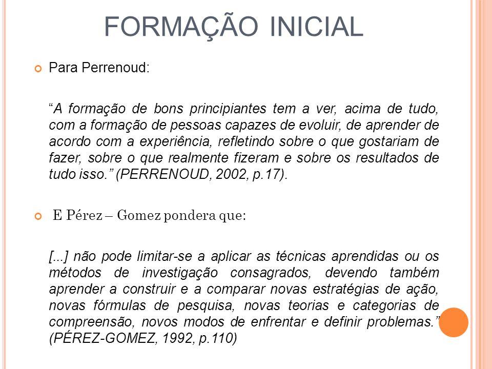 FORMAÇÃO INICIAL Para Perrenoud: