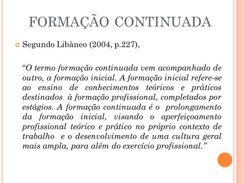 FORMAÇÃO CONTINUADA Segundo Libâneo (2004, p.227),