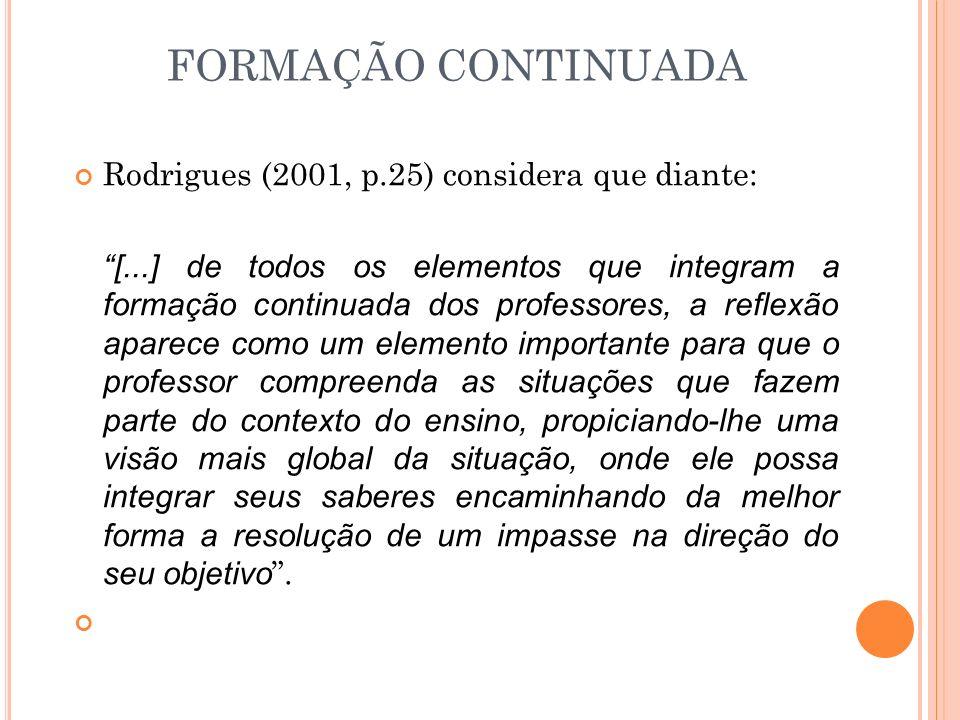 FORMAÇÃO CONTINUADA Rodrigues (2001, p.25) considera que diante: