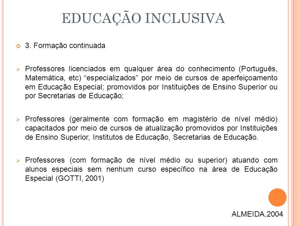 EDUCAÇÃO INCLUSIVA 3. Formação continuada