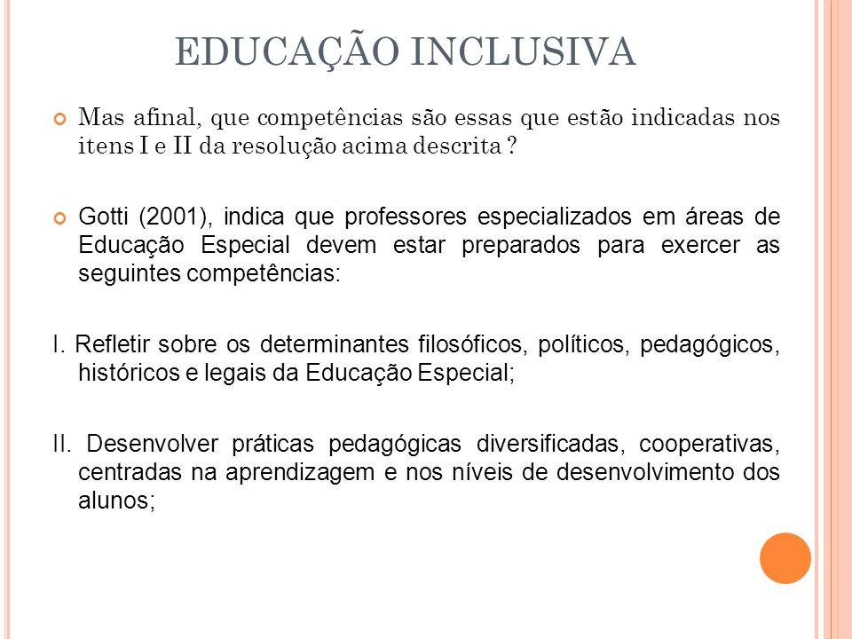 EDUCAÇÃO INCLUSIVA Mas afinal, que competências são essas que estão indicadas nos itens I e II da resolução acima descrita