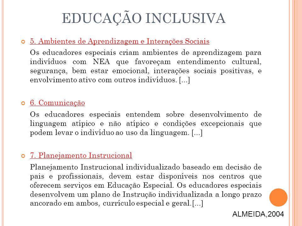EDUCAÇÃO INCLUSIVA 5. Ambientes de Aprendizagem e Interações Sociais
