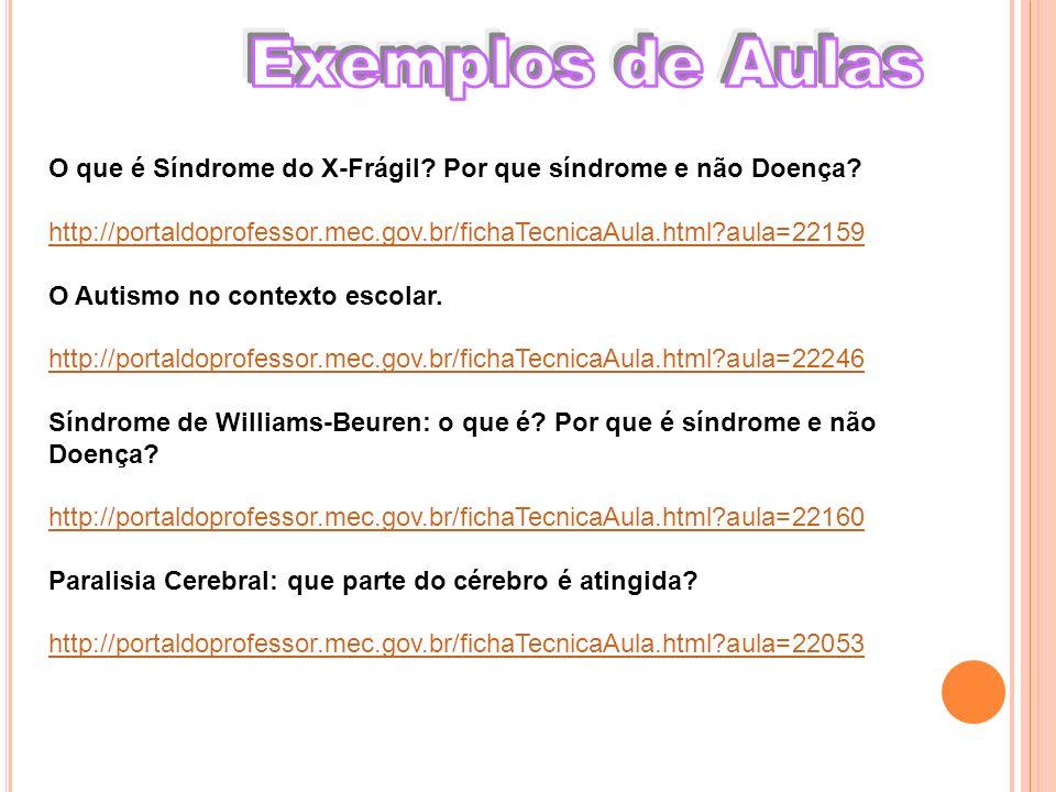 Exemplos de Aulas O que é Síndrome do X-Frágil Por que síndrome e não Doença http://portaldoprofessor.mec.gov.br/fichaTecnicaAula.html aula=22159.