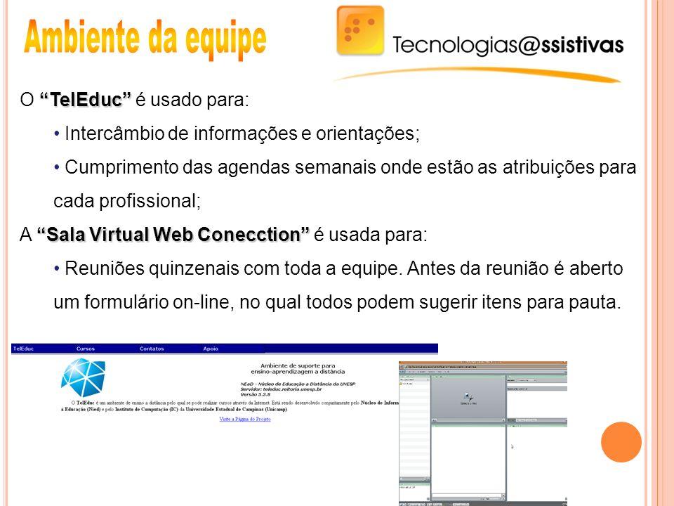 Ambiente da equipe O TelEduc é usado para: