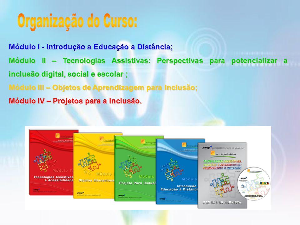 Organização do Curso: Módulo I - Introdução a Educação a Distância;