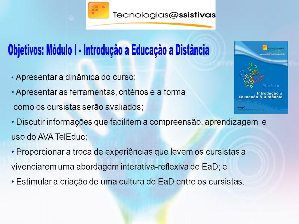 Objetivos: Módulo I - Introdução a Educação a Distância