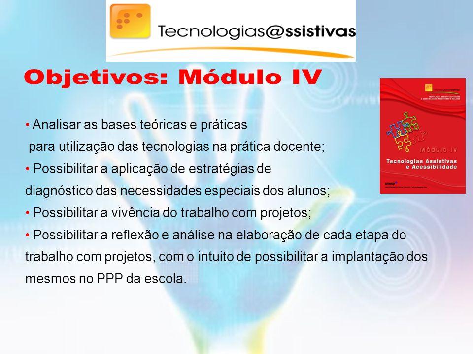 Objetivos: Módulo IV Analisar as bases teóricas e práticas para utilização das tecnologias na prática docente;