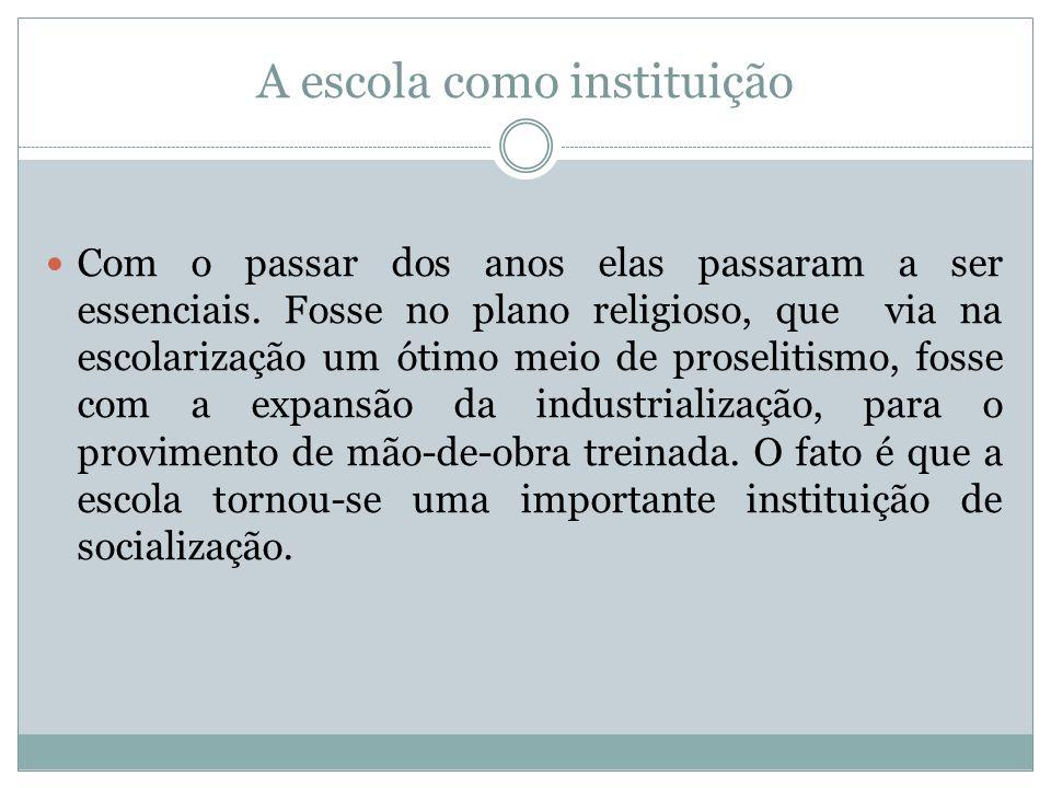 A escola como instituição