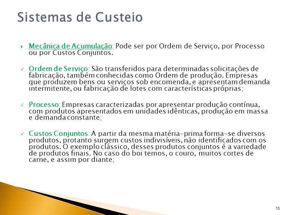 Sistemas de Custeio Mecânica de Acumulação: Pode ser por Ordem de Serviço, por Processo ou por Custos Conjuntos.