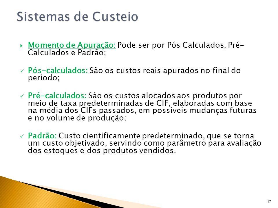 Sistemas de CusteioMomento de Apuração: Pode ser por Pós Calculados, Pré- Calculados e Padrão;