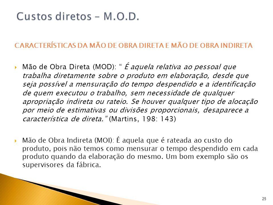 Custos diretos – M.O.D.CARACTERÍSTICAS DA MÃO DE OBRA DIRETA E MÃO DE OBRA INDIRETA.