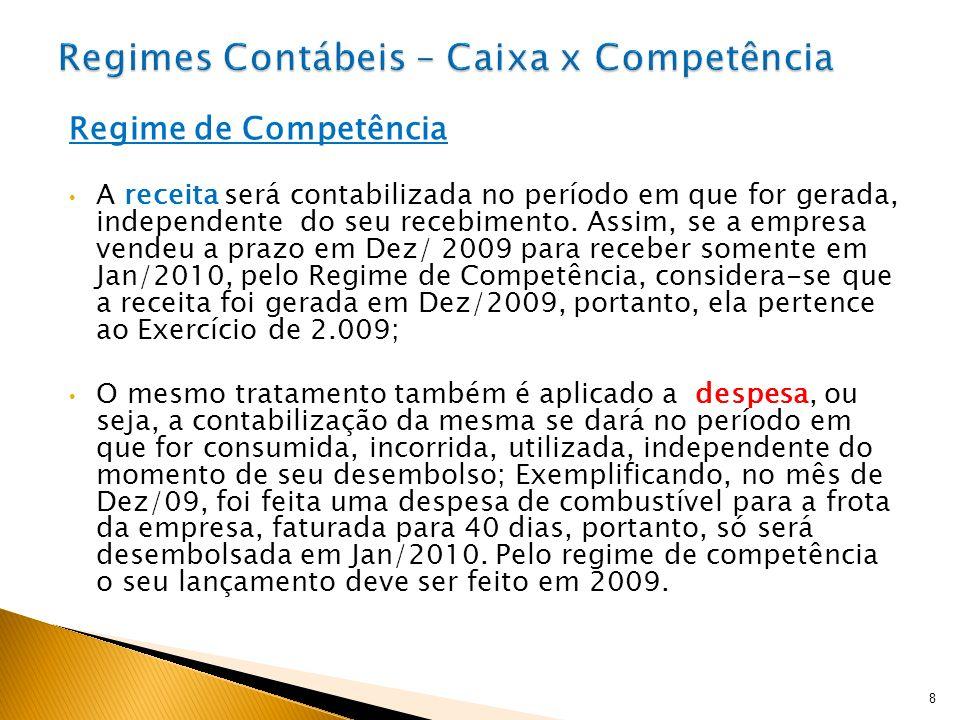 Regimes Contábeis – Caixa x Competência