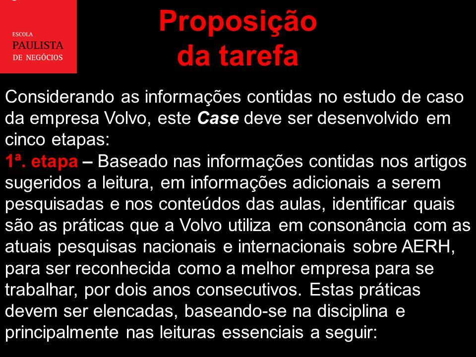 Proposiçãoda tarefa. Considerando as informações contidas no estudo de caso da empresa Volvo, este Case deve ser desenvolvido em cinco etapas: