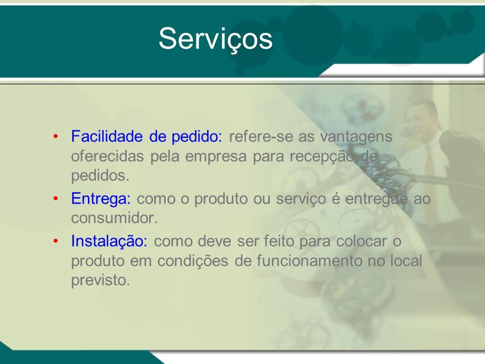 Serviços Facilidade de pedido: refere-se as vantagens oferecidas pela empresa para recepção de pedidos.