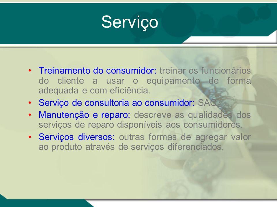 Serviço Treinamento do consumidor: treinar os funcionários do cliente a usar o equipamento de forma adequada e com eficiência.