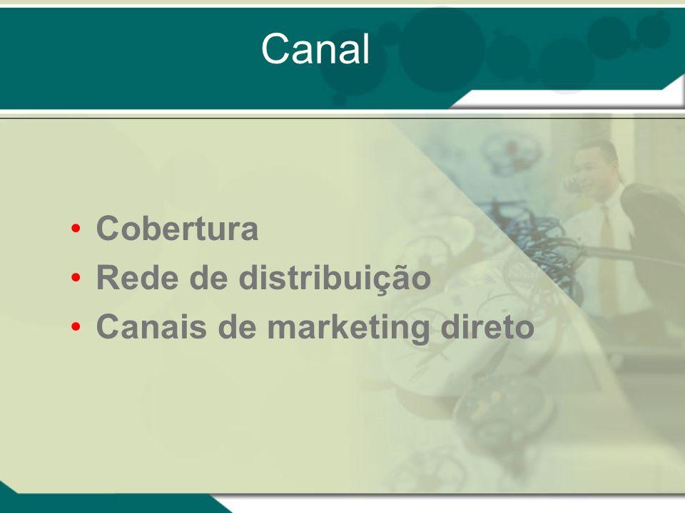 Canal Cobertura Rede de distribuição Canais de marketing direto