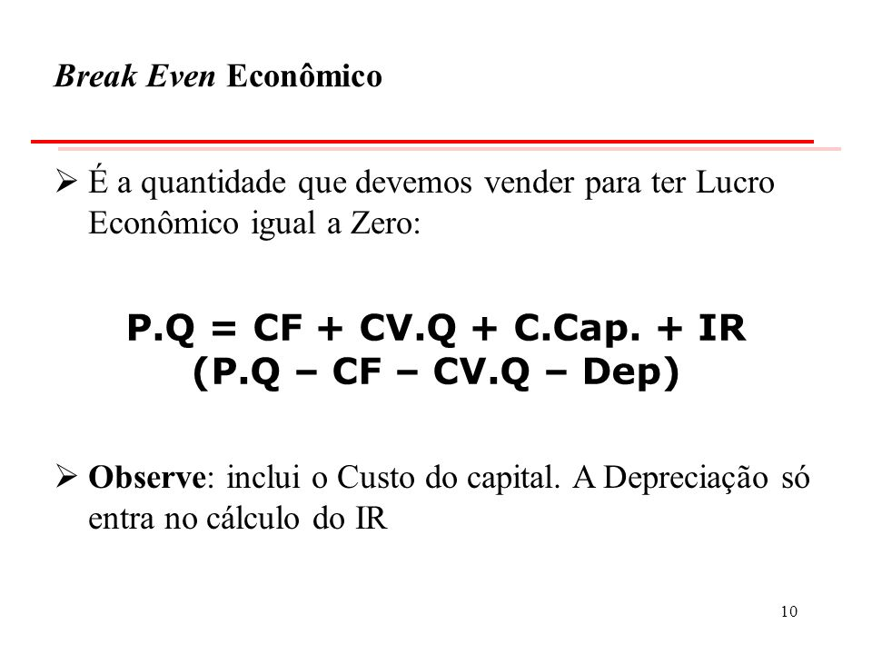 P.Q = CF + CV.Q + C.Cap. + IR (P.Q – CF – CV.Q – Dep)