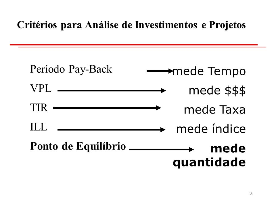 Critérios para Análise de Investimentos e Projetos
