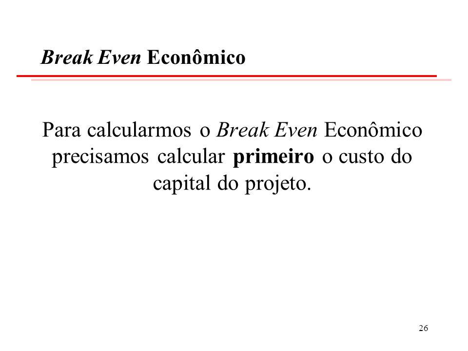 Break Even EconômicoPara calcularmos o Break Even Econômico precisamos calcular primeiro o custo do capital do projeto.