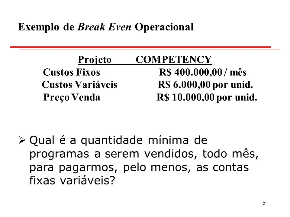 Exemplo de Break Even Operacional